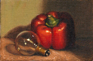 Oil painting of an incandescent light bulb beside a red pepper.