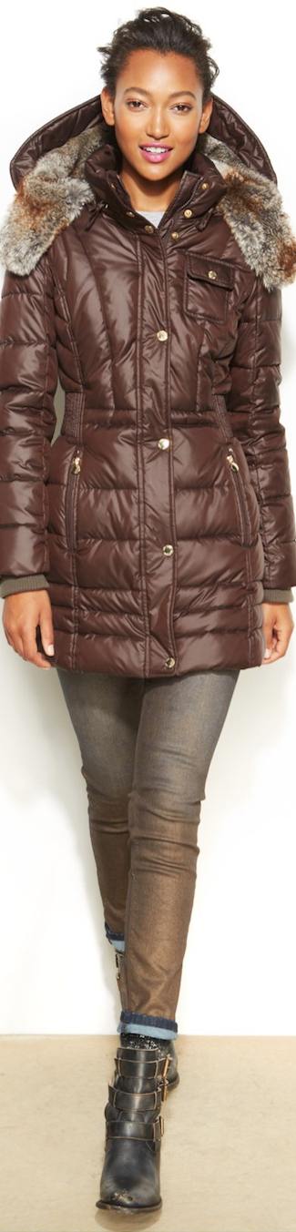 Laundry by Design Hooded  Puffer Coat with faux fur trim
