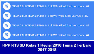 RPP K13 SD Kelas 1 Revisi 2016 Tema 2 Terbaru 2017 2018
