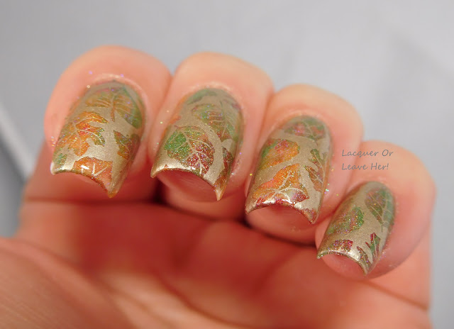 UberChic Beauty's Lovely Leaves plate over a smoosh mani with Shinespark Polish holos