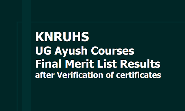 KNRUHS UG Ayush Courses Final Merit List Results 2019 after Verification of certificates