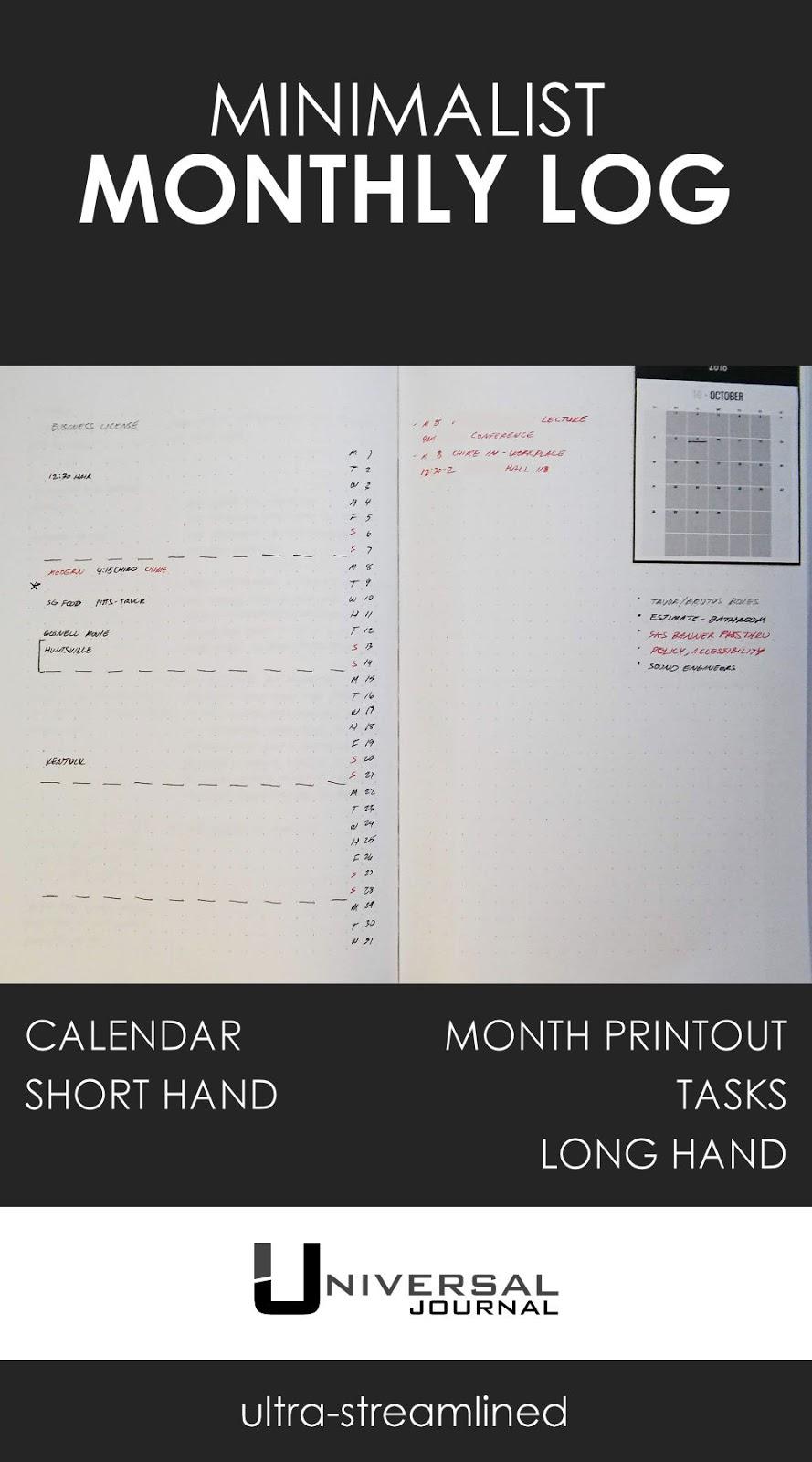 monthly log minimalist