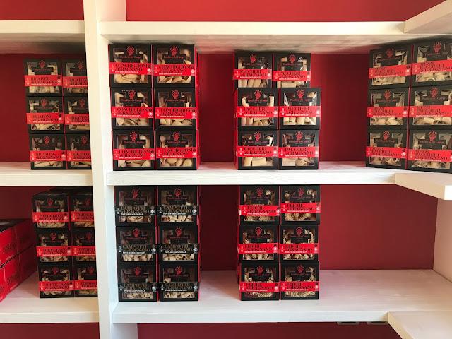 pasta boxes at pasta factory Pastificio Dei Campi Gragnano pic:Kerstin Rodgers/msmarmitelover.com