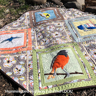 Four block bird table topper, bonus pattern for the FLOCK