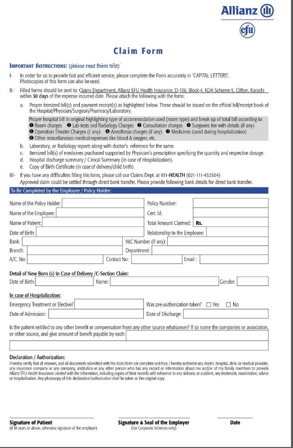 Allianz Efu Medical Claim Form For TEVTA Employees
