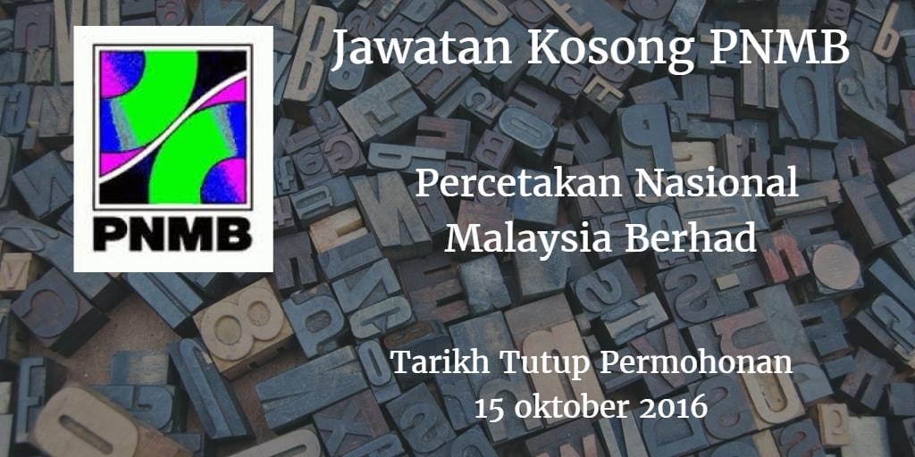 Jawatan Kosong PNMB 15 Oktober 2016