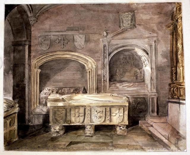 Dibujo de la 'Capilla funeraria de Santa María la Real de Nájera, La Rioja' - obra de Valentín Carderera y Solano - Museo de la Fundación Lázaro Galdiano (Inventario: 09581)
