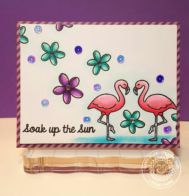 Sunny Studio Stamps: Tropical Paradise Soak Up The Sun Flamingo Card by Lindsey Bailey.