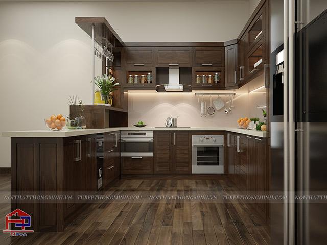 Tủ bếp sử dụng gỗ óc chó đen