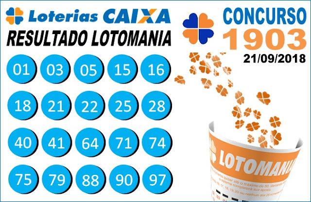 Resultado da Lotomania concurso 1903 de 21/09/2018 (Imagem: Informe Notícias)