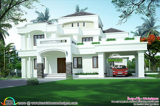 Double storied Colonial touch home design