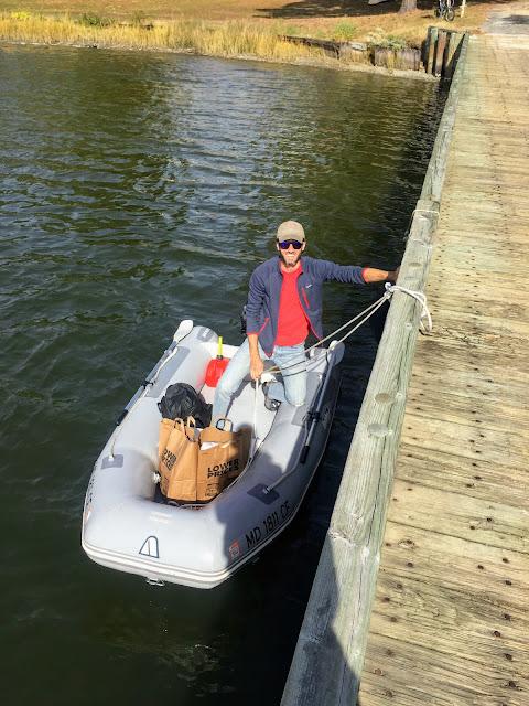 dinghy, Deltaville, public dock, provisioning