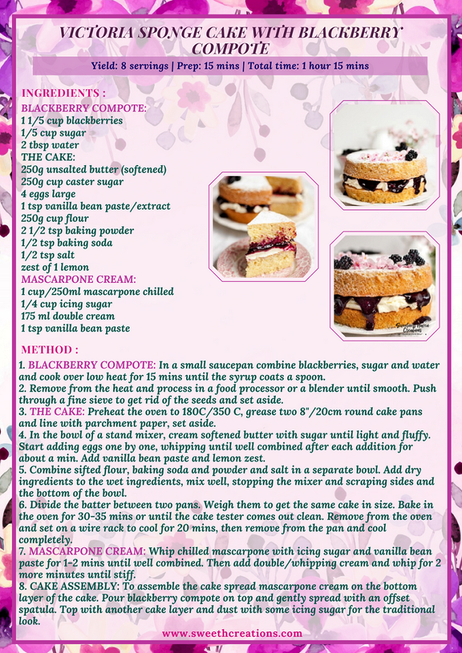 VICTORIA SPONGE CAKE WITH BLACKBERRY COMPOTE RECIPE