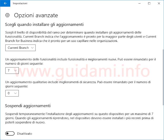 Windows 10 Impostazioni Sospendere aggiornamenti funzionalità