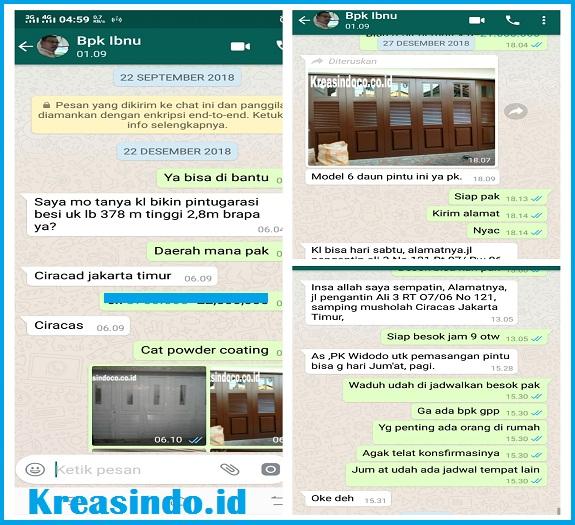 Pintu Garasi Besi pesanan Bpk Ibnu di Jalan Pengantin Ali 3 Ciracas Jakarta Timur