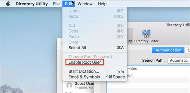 Abilita utente root nella barra dei menu