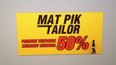 Promosi 50% Tempahan Baju di Mat Pik Tailor, Kuala Terengganu