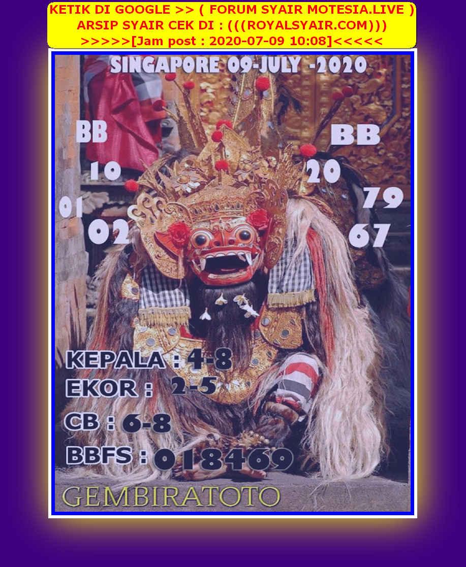 Kode syair Singapore Kamis 9 Juli 2020 147