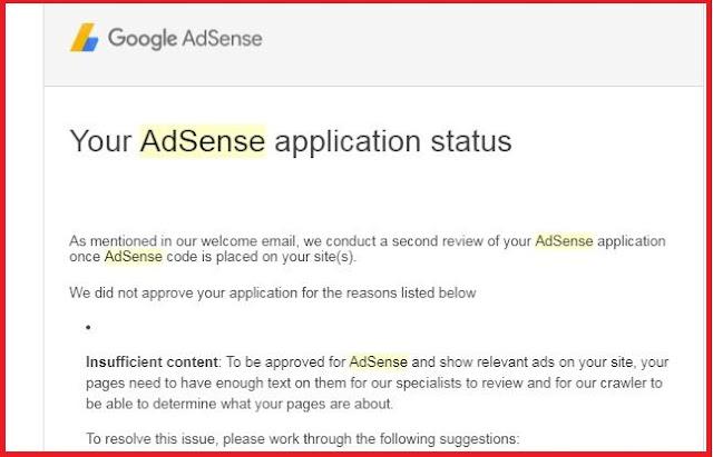 Adsense disapprove