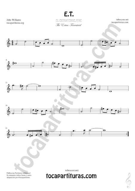 Flauta Dulce Partitura de la BSO de ET Sheet Music for Flute and Recorder Music Scores