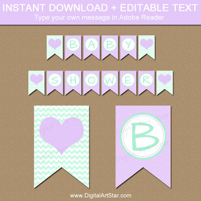 mint and lavender girl baby shower printable banner