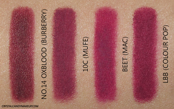 Burberry Lip Definer Pencil No.14 Oxblood Swatch MAC Beet Colourpop LBB MUFE 10C