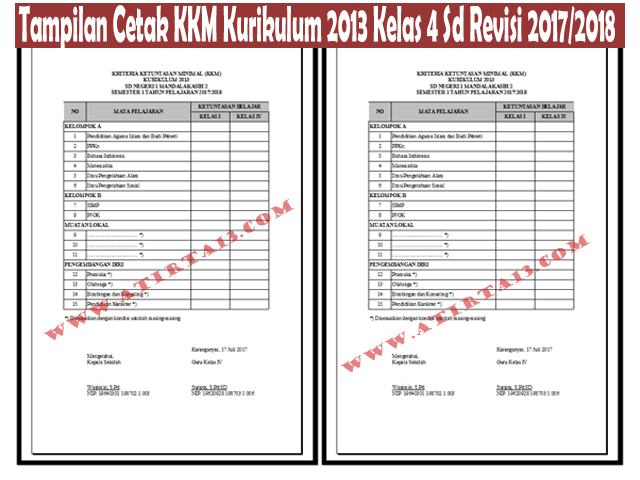 Tampilan Aplikasi KKM SD Kelas 4 Kurikulum 2013 Revisi 2017/2018 Format Excel Xlsx