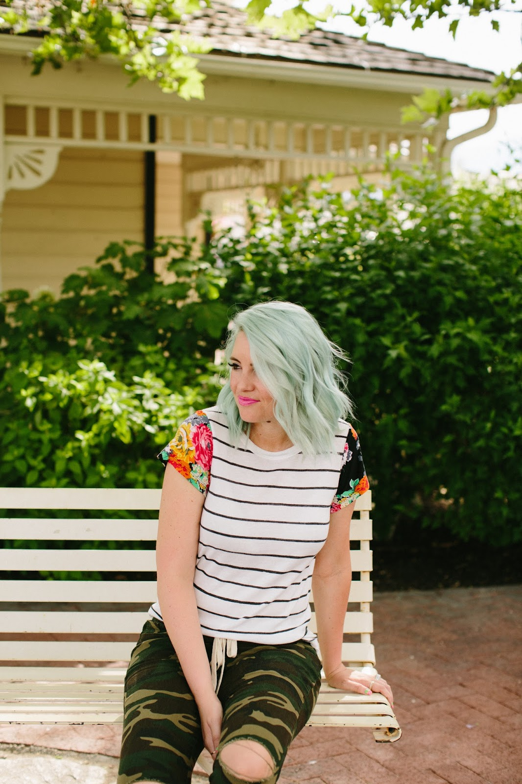 Mint hair, floral and stripes, camo ripped jeans