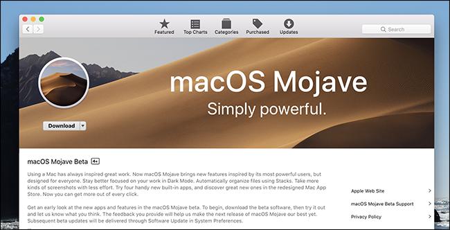 scaricare la versione beta di Mojave dal Mac App Store
