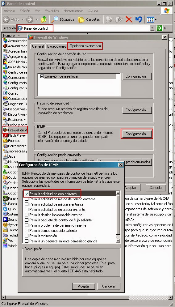 Habilitar la solicitud de echo ICMP entrante en el Firewall de Windows XP (ICF)