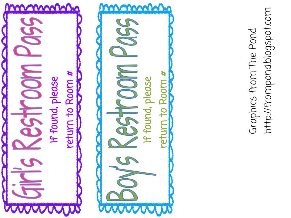 made another item today Restroom Passes . If it works for you, you ...