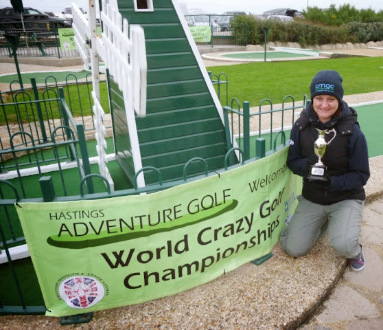 Emily Gottfried and The Gommery Trophy at the 2014 World Crazy Golf Championships in Hastings