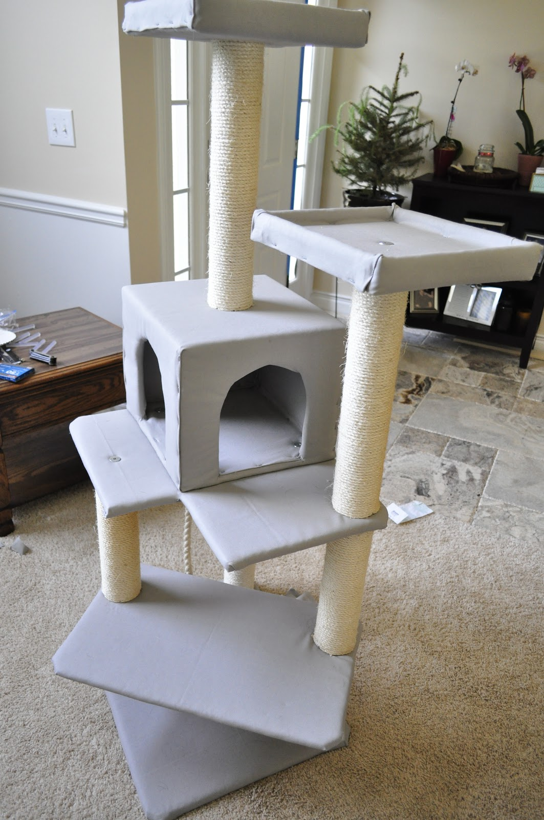 Pretty Cat Furniture Our Little Nest Crafty Recovering A Cat Tower