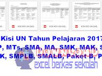 Kisi Kisi UN Tahun Pelajaran 2017 2018 SMP, MTs, SMA, MA, SMK, MAK, SMTK, SMAK, SMPLB, SMALB, Paket B, Paket C