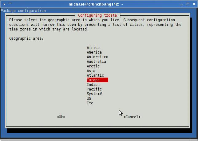 Michael's TechBlog: Crunchbang Linux - change the time zone