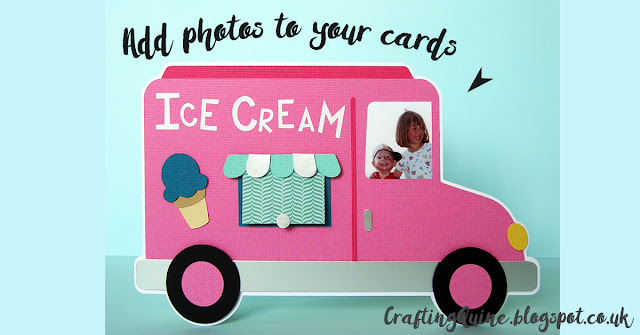 Ice-cream Van Card with Photo by Janet Packer #CraftingQuine #SanqunettiDesign #card making #photos