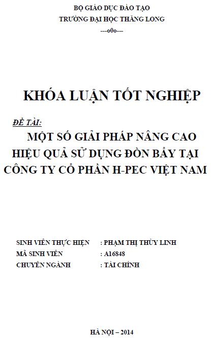 Một số giải pháp nâng cao hiệu quả sử dụng đòn bẩy tại Công ty Cổ phần H-PEC Việt Nam