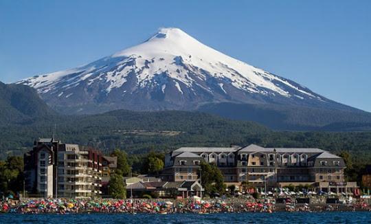 Pucon and Villarrica Volcano, Chile.