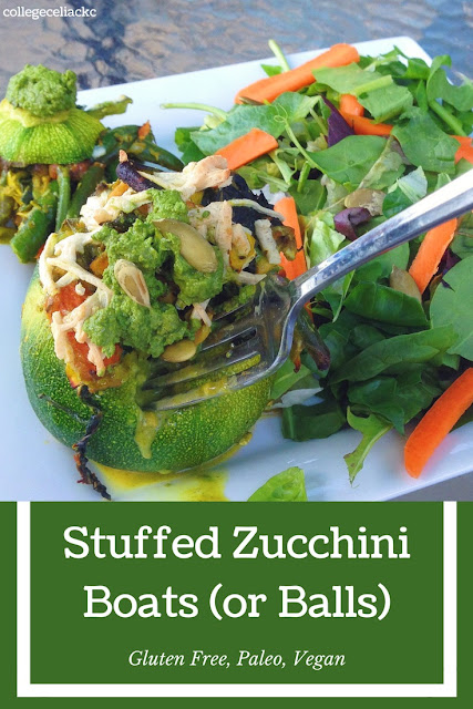 Stuffed Zucchini Boats or Balls (Gluten Free, Vegan)