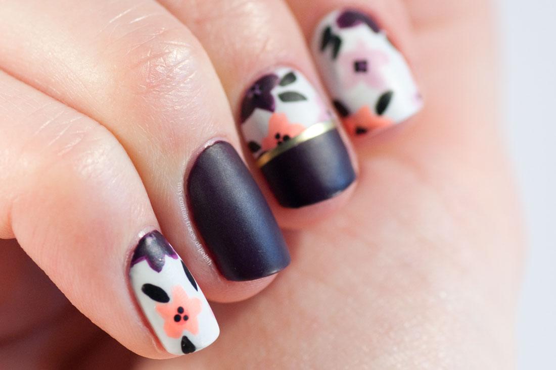 Dark matte flower nail art