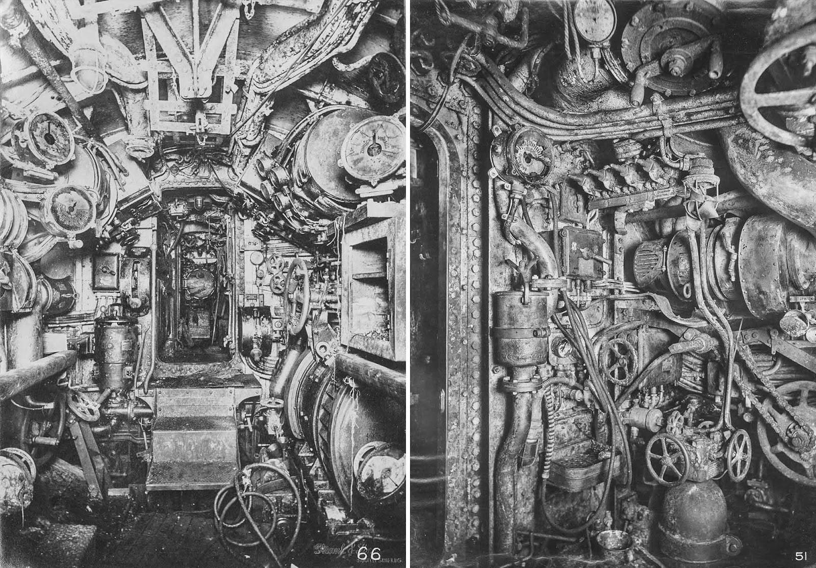 (Left) Electric control room, looking aft to motor room and stern torpedo room. (Right) Engine room, looking forward on starboard side.