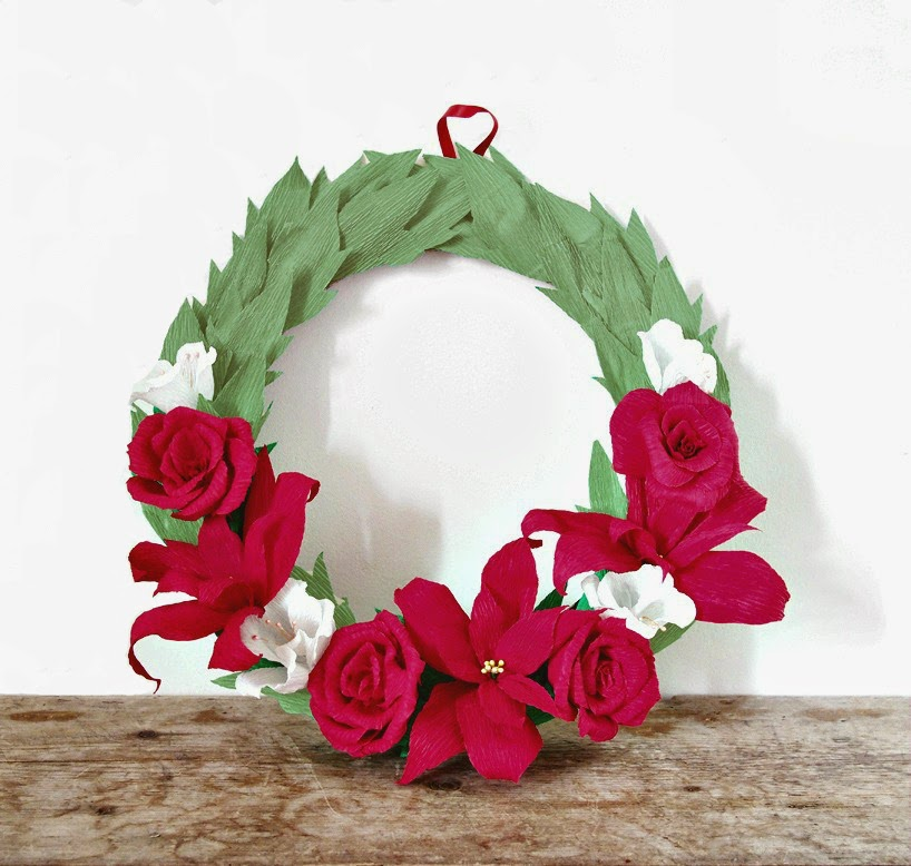 Crepe Paper Wreath Tutorial