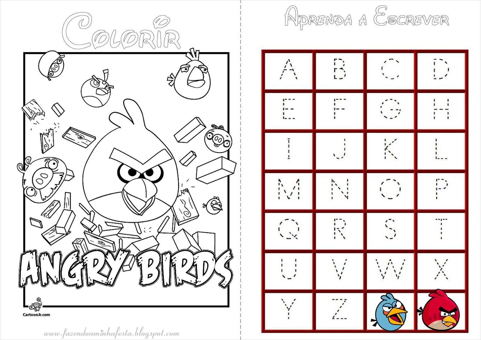 Desenho Angry Birds Menina Para Colorir: Fazendo A Nossa Festa