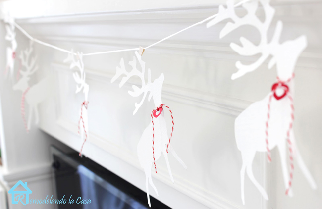 paper garland on fireplace for Valentines day