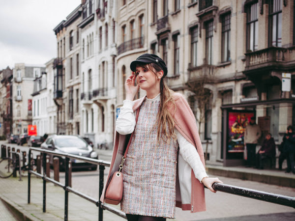 Outfit: tweed  pinafore, over knee boots