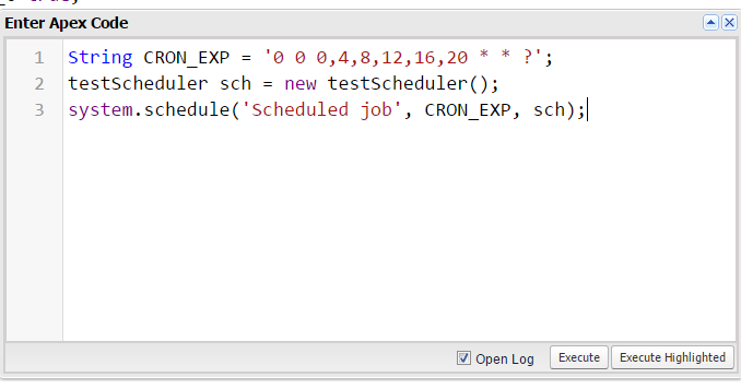 How to schedule batch class after every 4 hours in a day