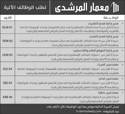 اعلان وظائف معمار المرشدى بعدد من التخصصات منشور 14-3-2019