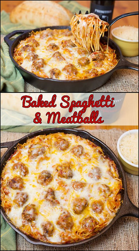 Baked Spaghetti & Meatballs #baked #bakingrecipes #spaghetti #spaghettirecipes #meatballs #tasty #tastyrecipes #delicious #deliciousrecipes