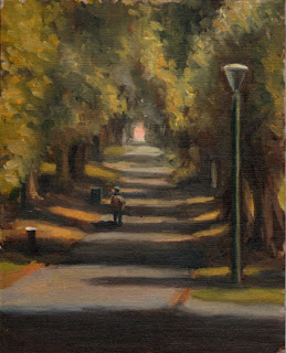 Oil painting of a figure on a path between tall trees illuminated by shafts of sunlight.