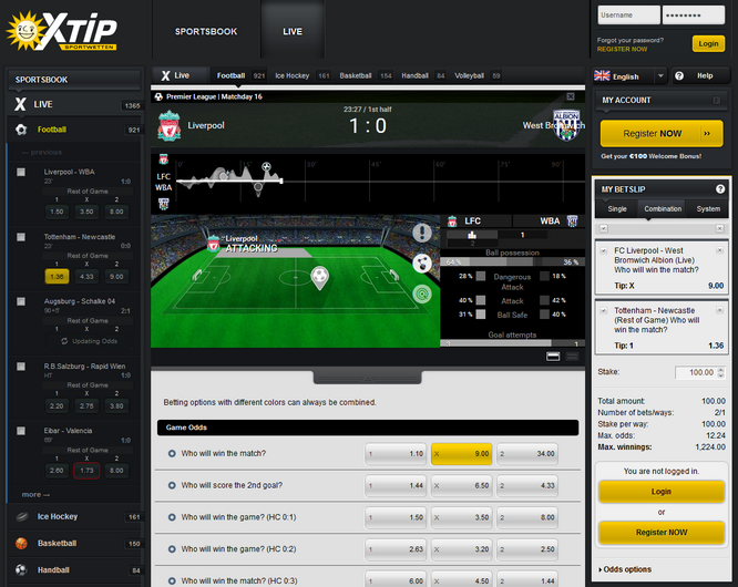 X-tip Live Betting Screenshot